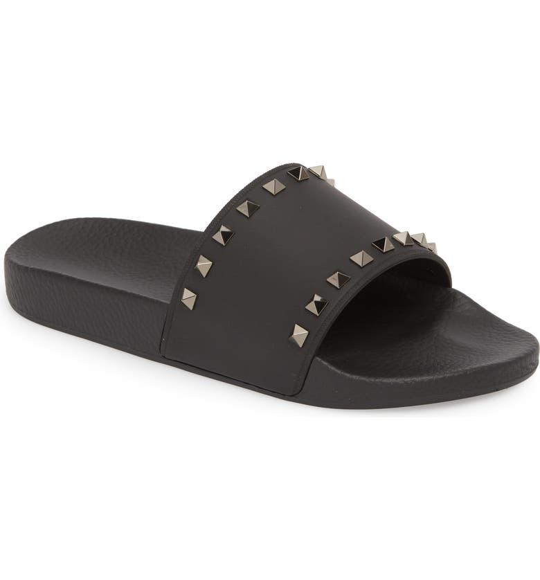 VALENTINO GARAVANI Rockstud Slide Sandal, Main, color, BLACK