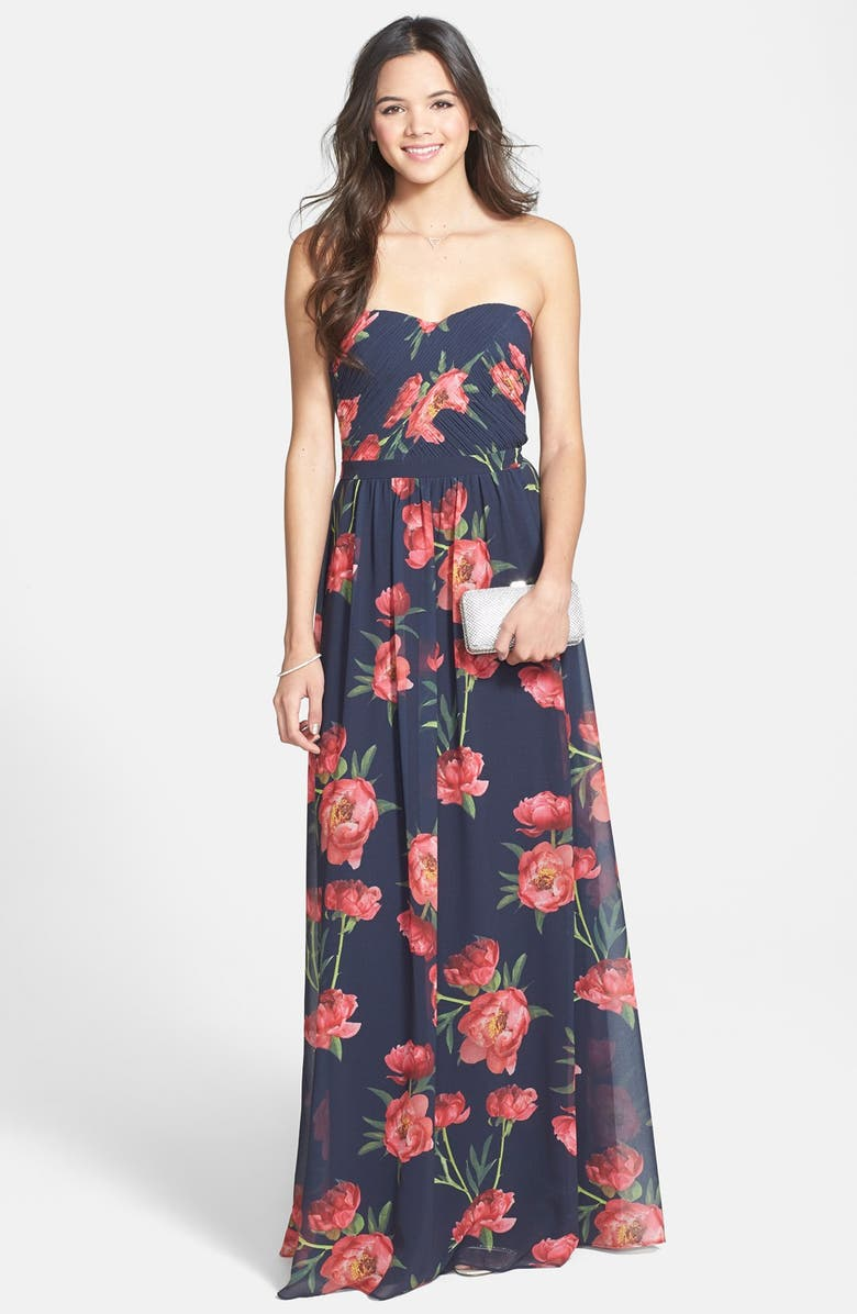 ERIN ERIN FETHERSTON Rose Print Chiffon Strapless Gown, Main, color, 400