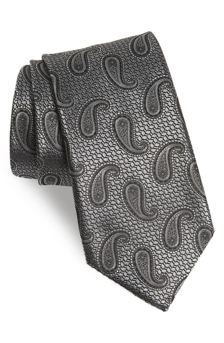 CANALI Paisley Silk Tie, Main, color, SILVER