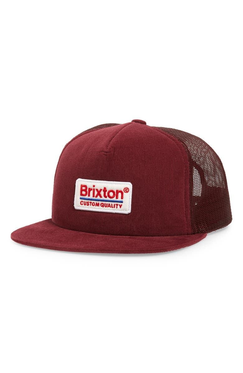 BRIXTON Palmer Trucker Hat, Main, color, MAROON