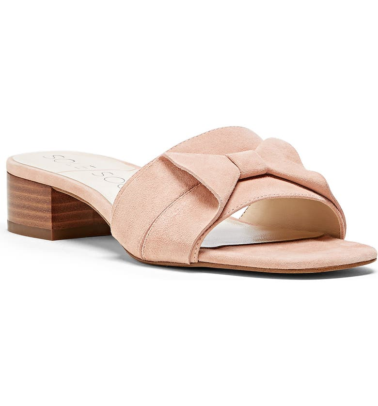 SOLE SOCIETY Erianna Bow Slide Sandal, Main, color, CORAL DUST SUEDE