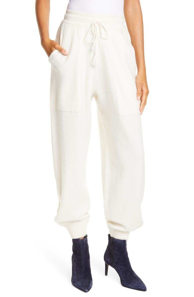 ULLA JOHNSON Morgana Merino Wool Pants, Main, color, BLANC