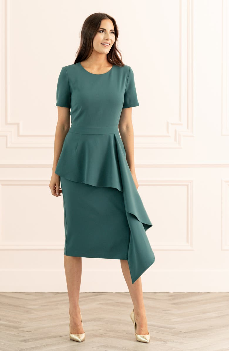 RACHEL PARCELL Cascade Sheath Dress, Main, color, TEAL CYRUS