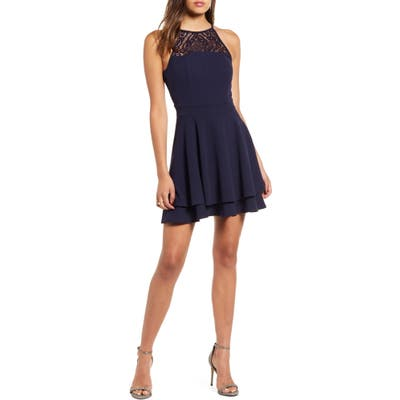 Love, Nickie Lew Lace Detail Layer Skater Dress, Blue