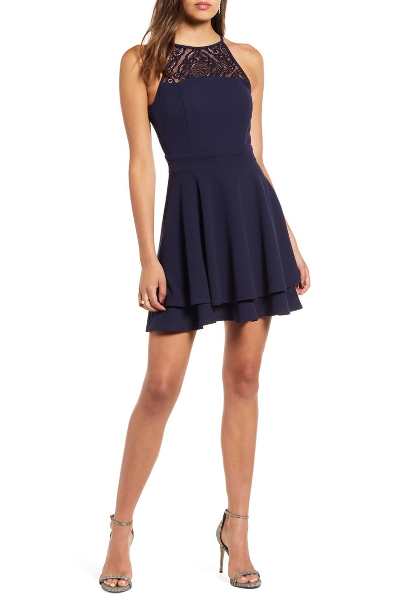 LOVE, NICKIE LEW Lace Detail Layer Skater Dress, Main, color, NAVY