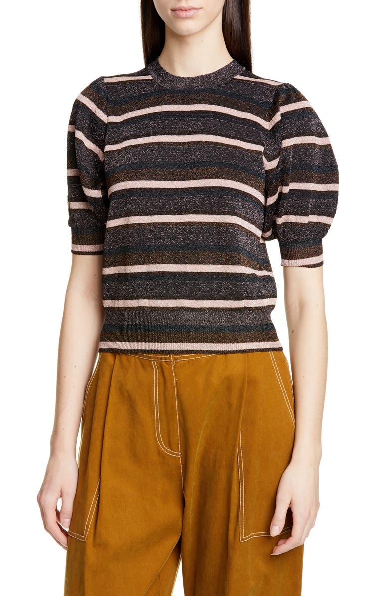 Albi Metallic Stripe Puff Sleeve Sweater by Ulla Johnson