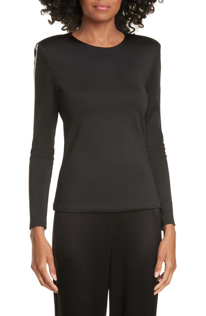 ALICE + OLIVIA Raven Embellished Sleeve Top, Main, color, BLACK