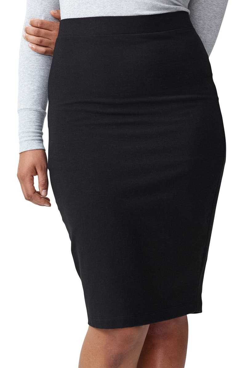 UNIVERSAL STANDARD Danube Heavyweight Jersey Skirt, Main, color, BLACK