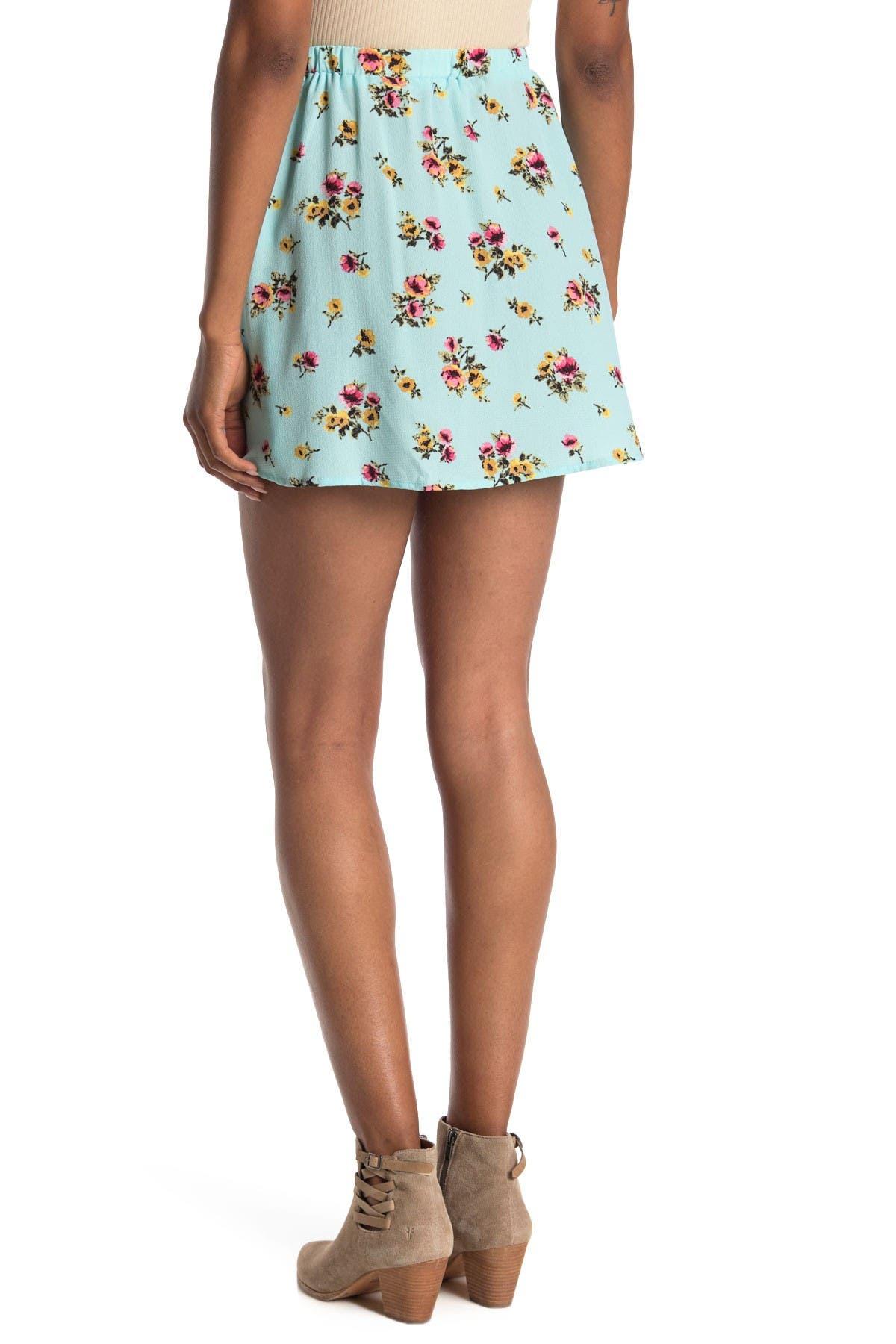 Image of GOOD LUCK GEM Button Accent Mini Skirt