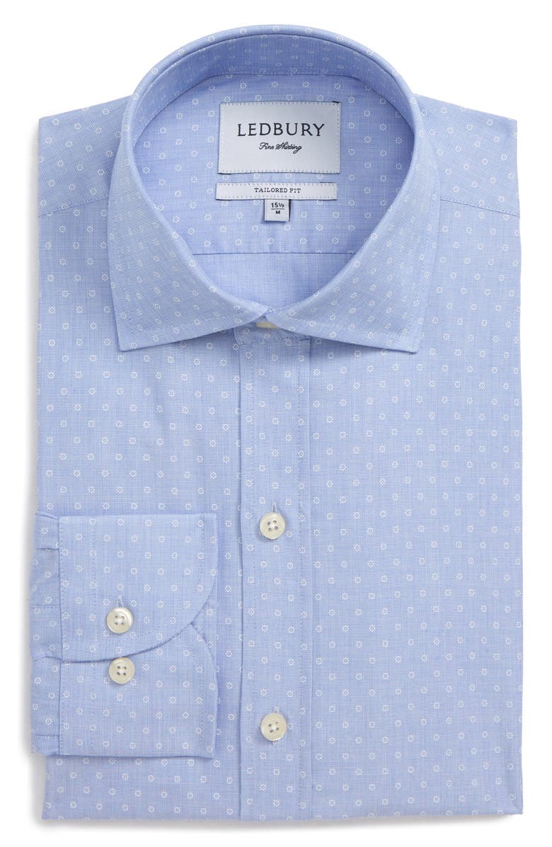 LEDBURY Loren Tailored Fit Dot Dress Shirt, Main, color, BLUE