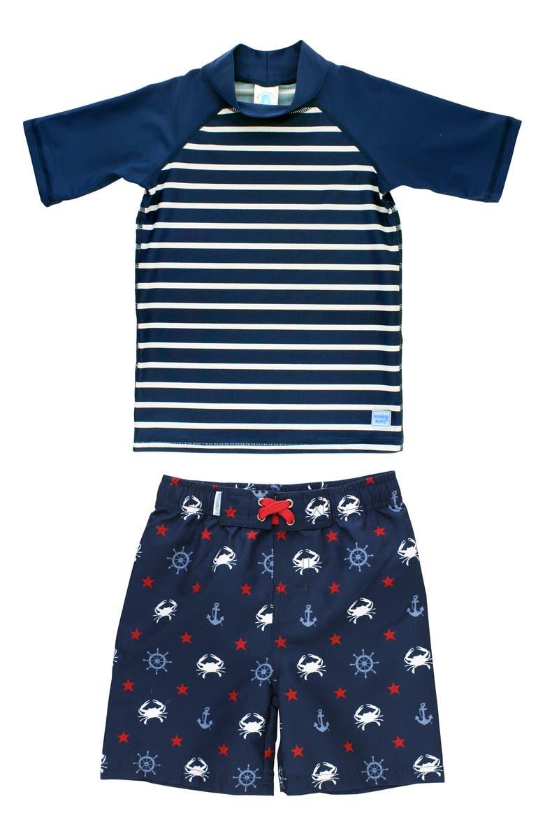 RUGGEDBUTTS Sailor Stripe Two-Piece Rashguard Swimsuit, Main, color, NAVY