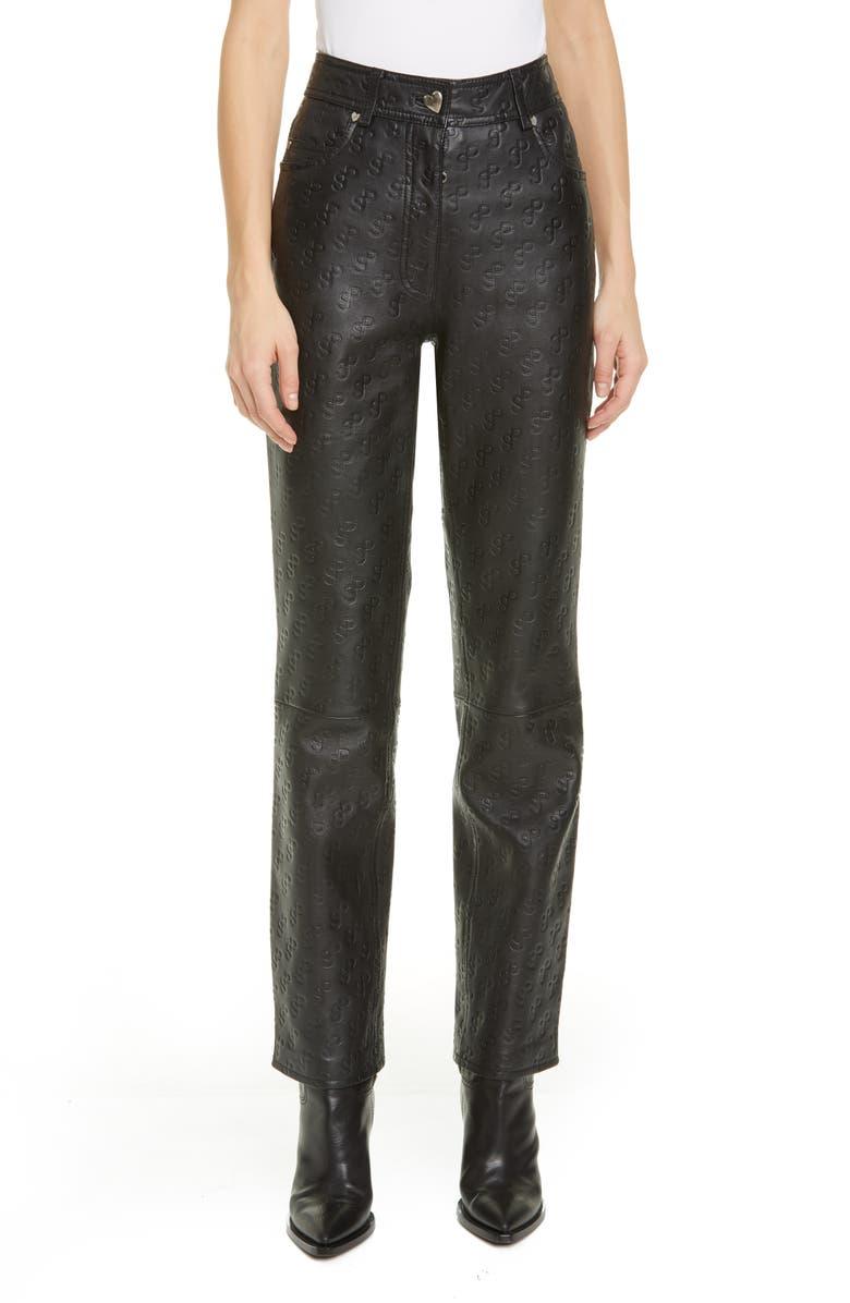 SAKS POTTS Rosita Monogram Leather Pants, Main, color, 001