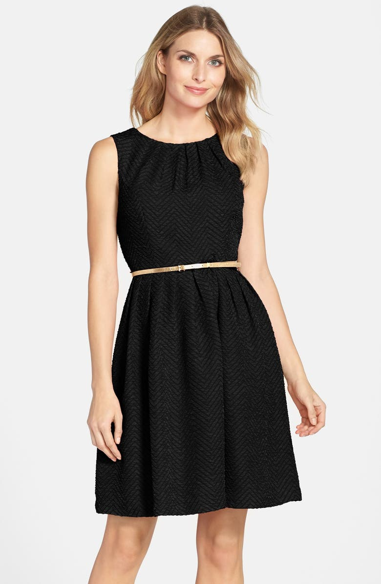 ELLEN TRACY Belted Herringbone Stretch Fit & Flare Dress, Main, color, 001
