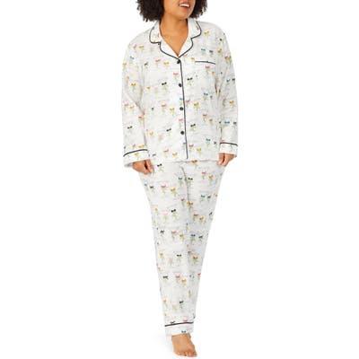 Plus Size Bedhead Pajamas Long Sleeve Print Pajamas, Beige
