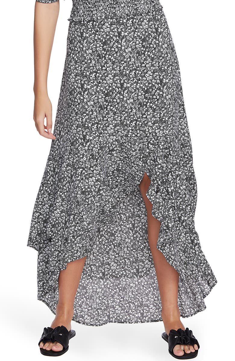 1.STATE Floral Print High/Low Skirt, Main, color, RICH BLACK