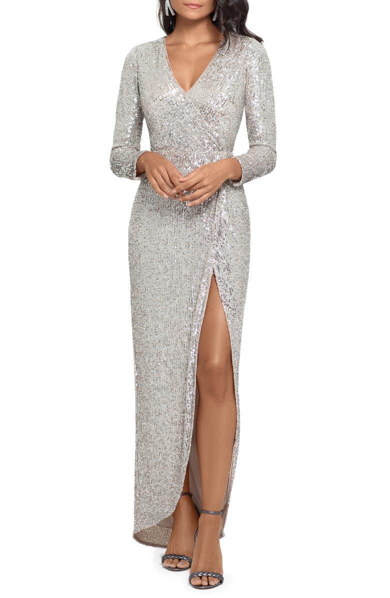XSCAPE Long Sleeve Sequin Gown, Main, color, 272