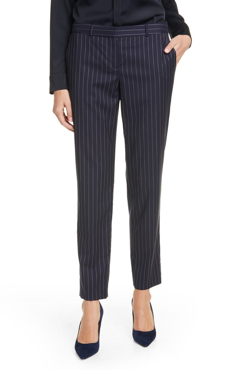 BOSS Tiluna11 Pinstripe Stretch Wool Trousers, Main, color, MIDNIGHT FANTASY