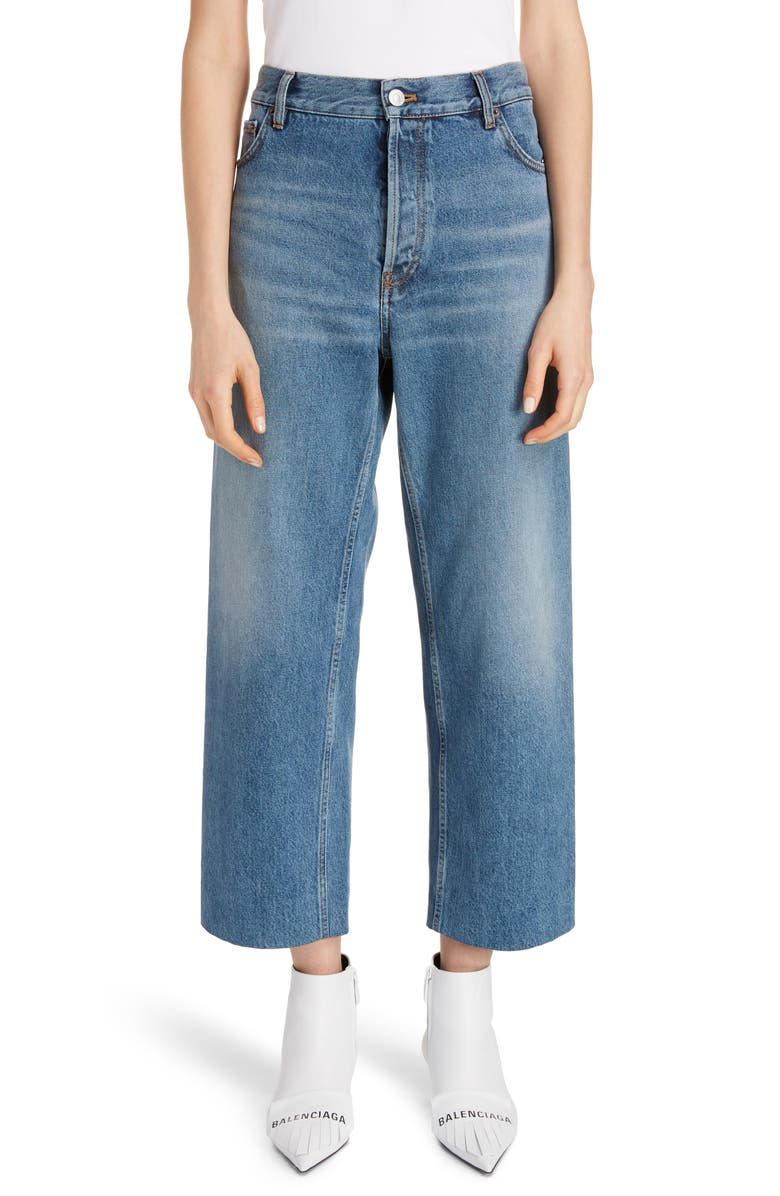 BALENCIAGA Wide Leg Crop Jeans, Main, color, LIGHT VINT INDIGO