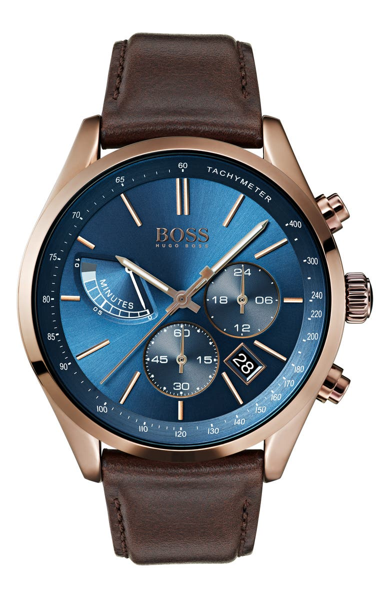 BOSS Grand Prix Chronograph Leather Strap Watch, 44mm, Main, color, 460