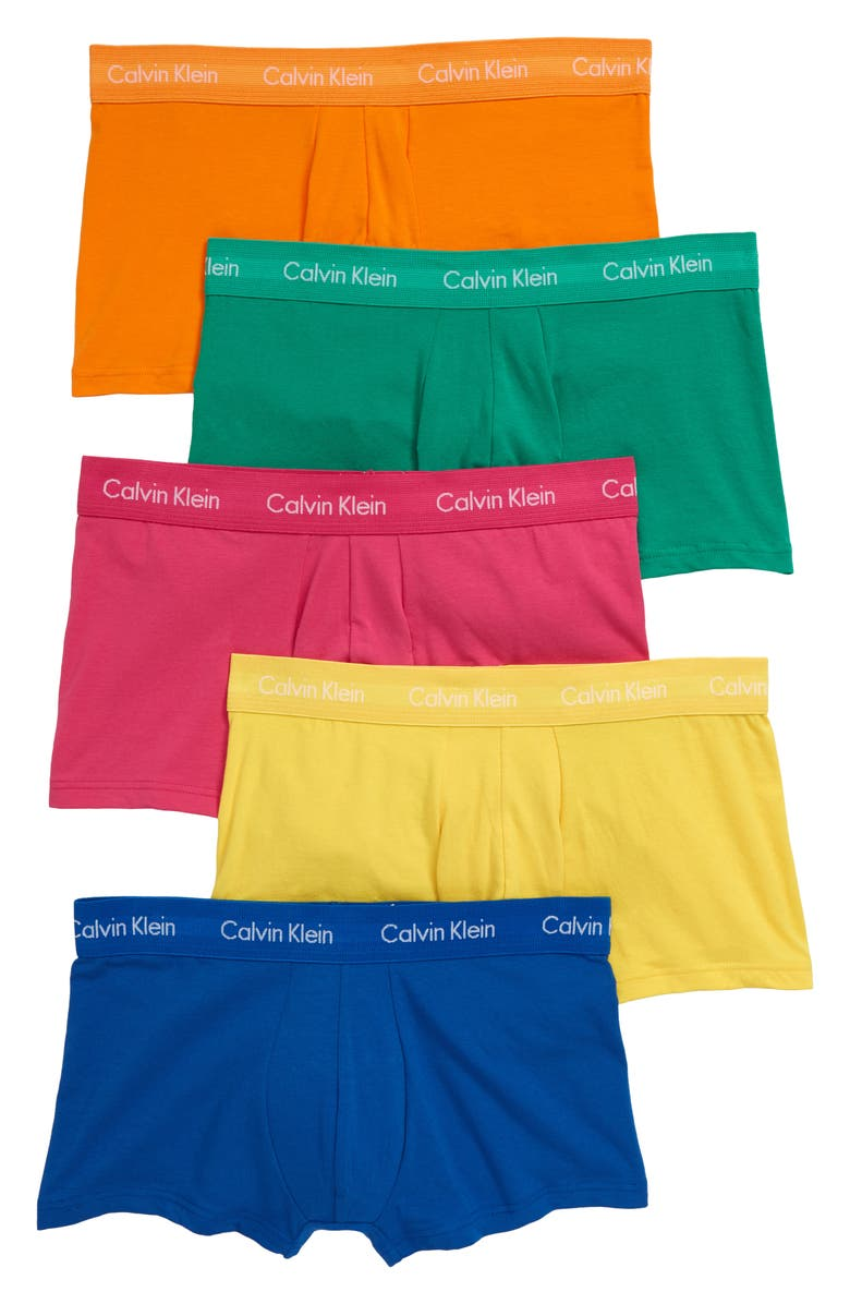 CALVIN KLEIN 5-Pack Stretch Cotton Low Rise Trunks, Main, color, 650