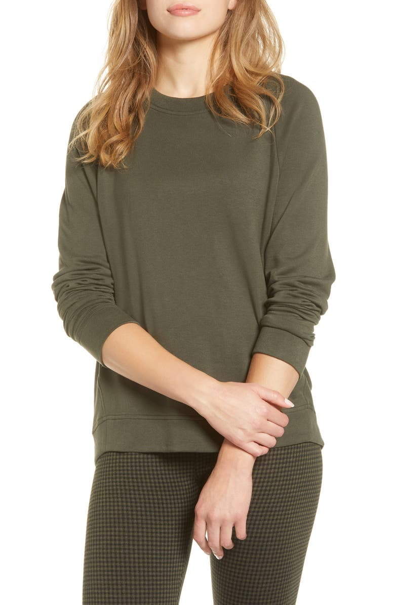LOU & GREY Signaturesoft Plush Sweatshirt, Main, color, HARVEST GREEN