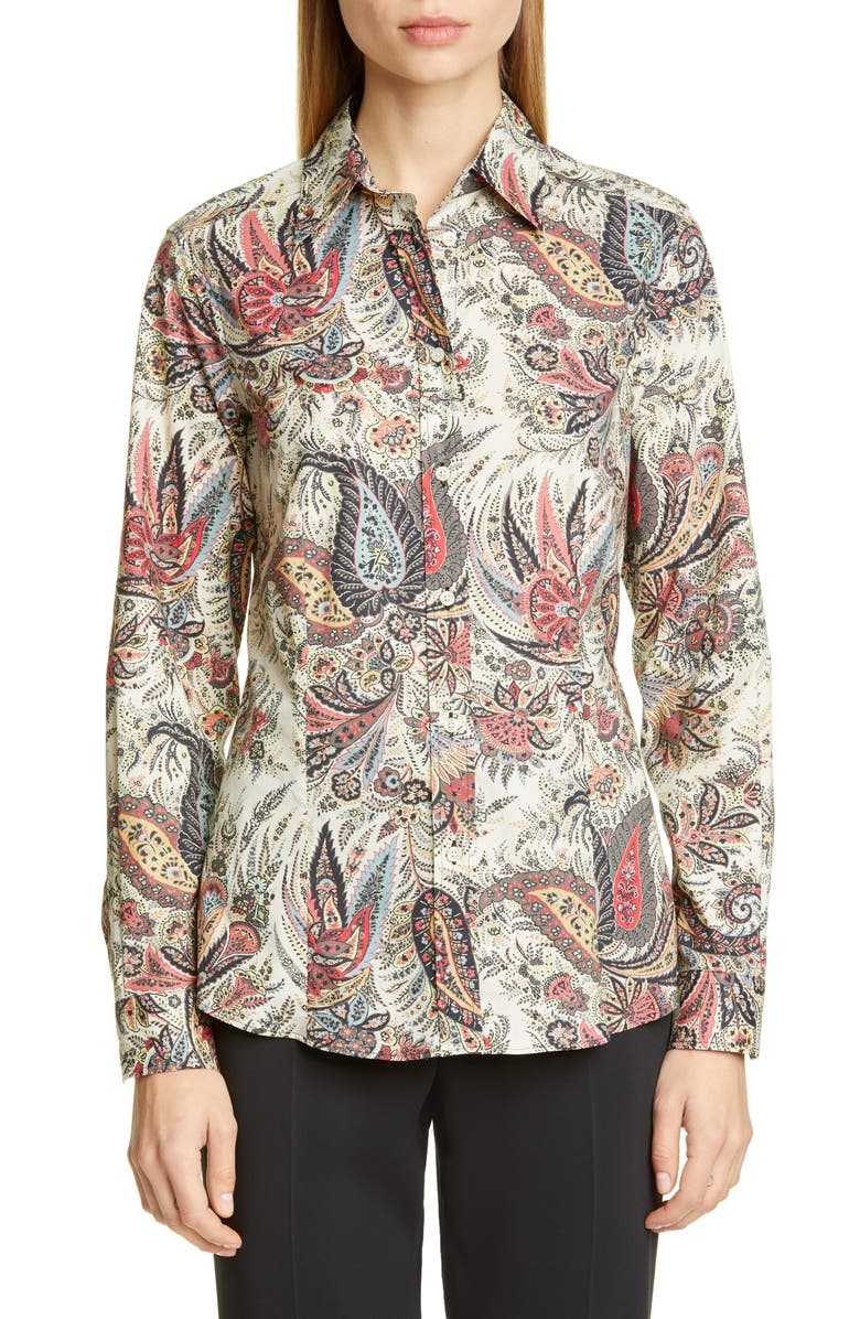ETRO Paisley Print Stretch Poplin Shirt, Main, color, MULTI
