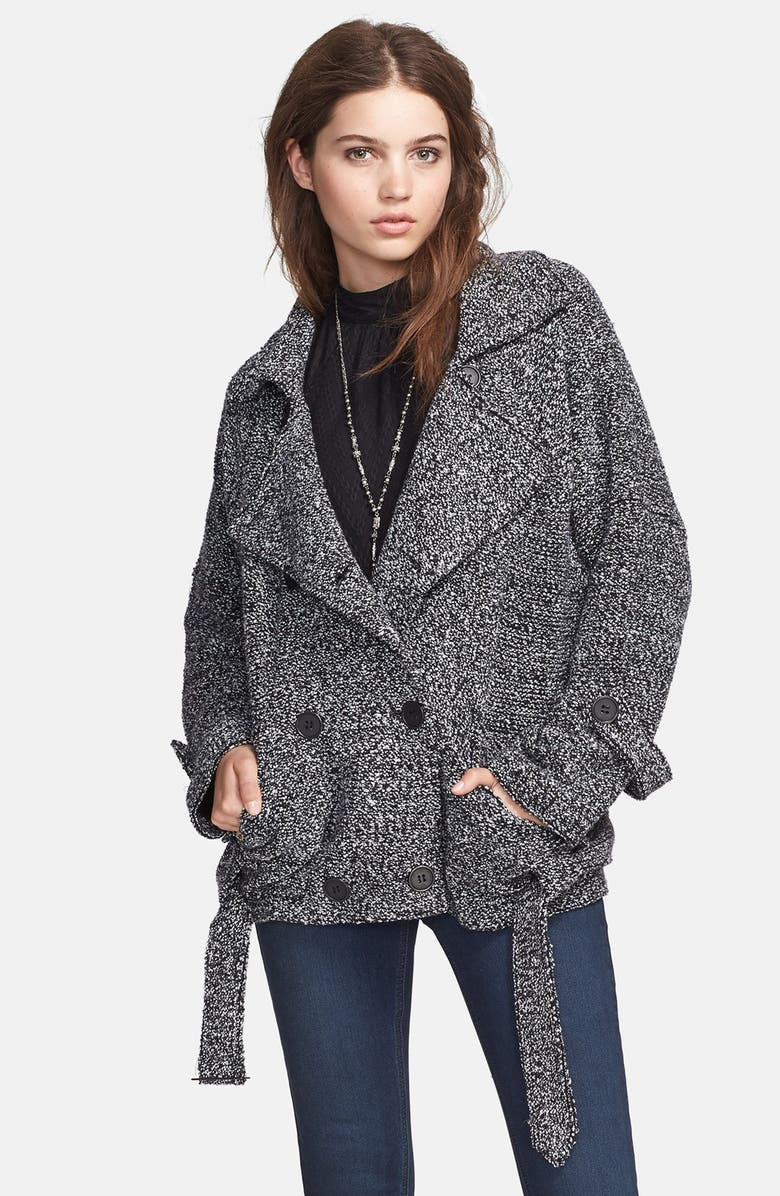 FREE PEOPLE Oversize Knit Jacket, Main, color, 001