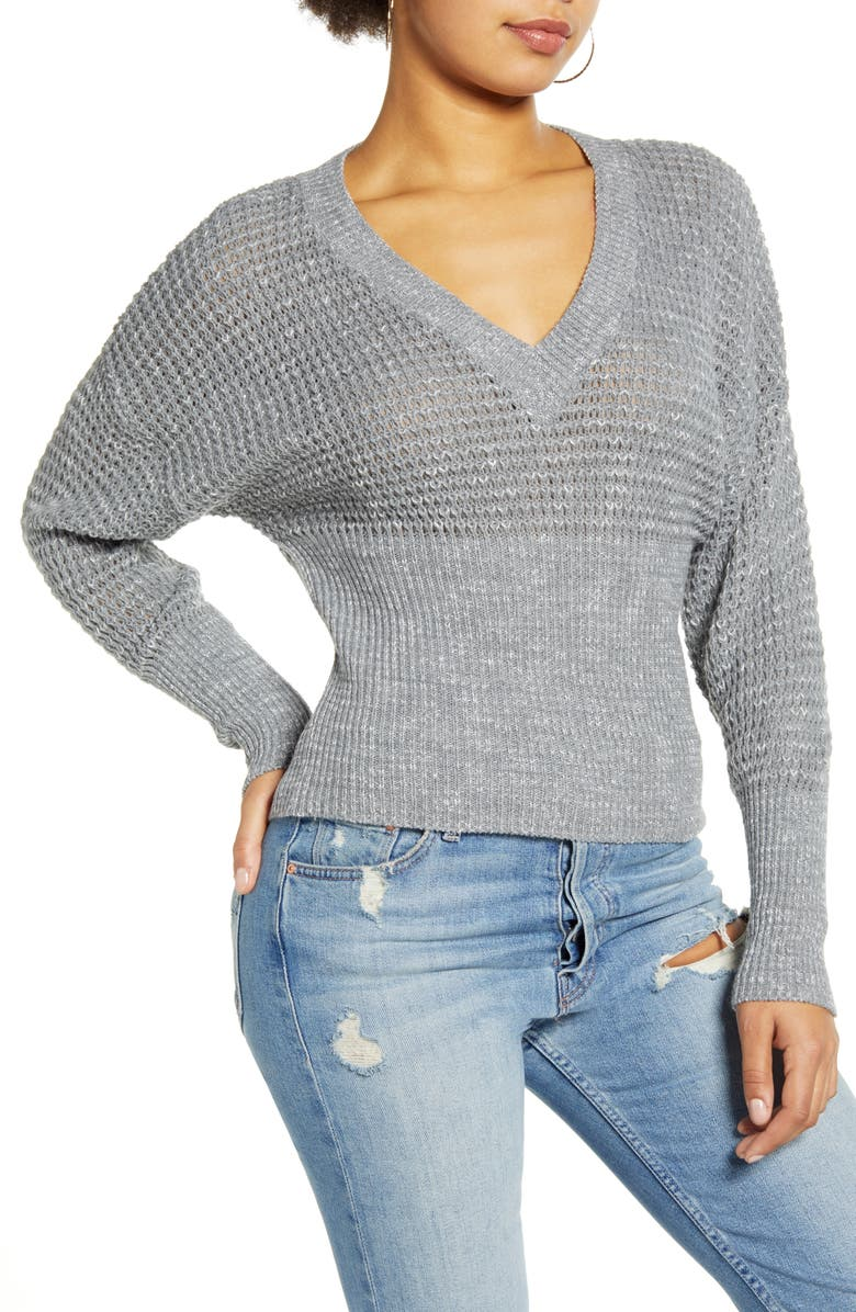 LEITH Dolman Sleeve V-Neck Sweater, Main, color, 021