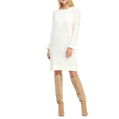 Gal Meets Glam Collection Agnes Ruffle Cuff Long Sleeve Sweater Dress, Ivory