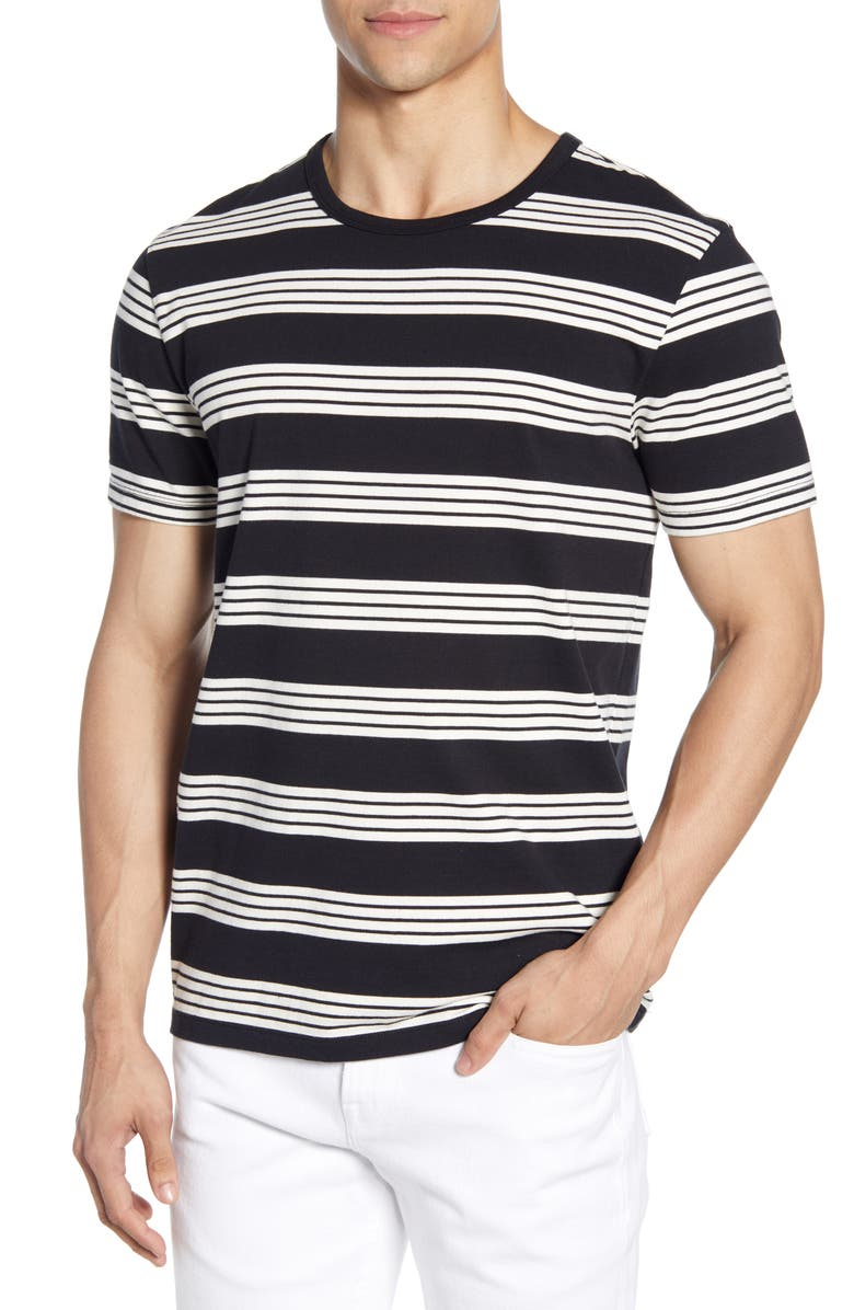 FRAME Slim Fit Yarn Dye Stripe T-Shirt, Main, color, NOIR MULTI