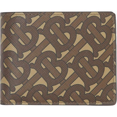 Burberry Tb Monogram E-Canvas International Bifold Wallet - Brown