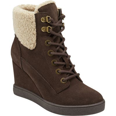 Evolve Everett Hidden Wedge Bootie With Faux Shearling Trim, Brown