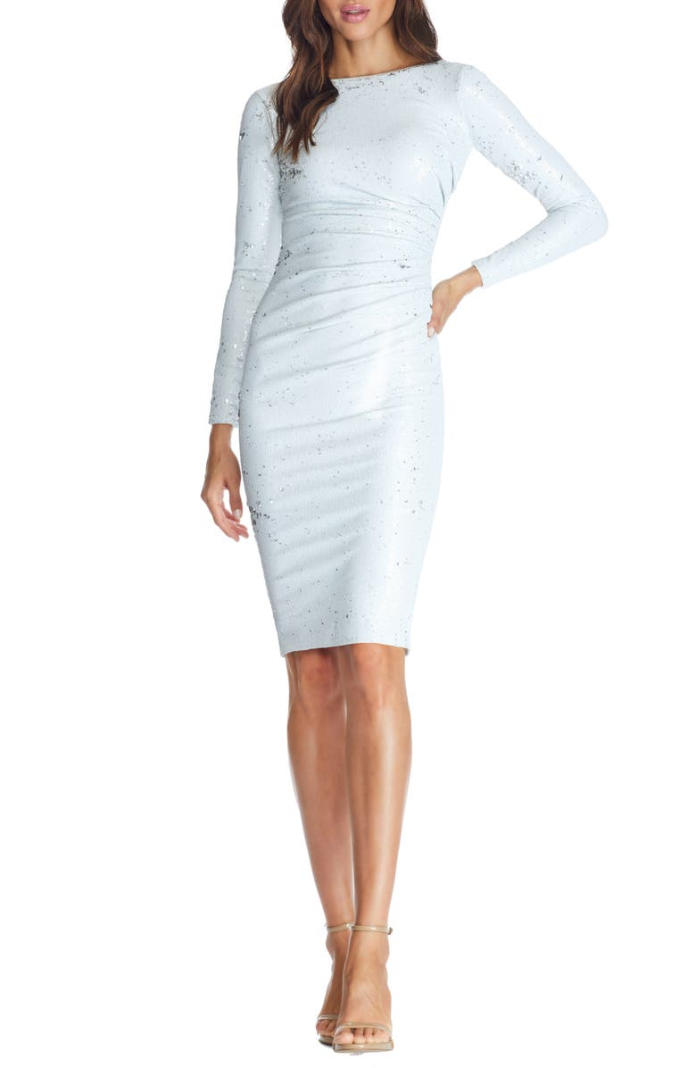 DRESS THE POPULATION Emilia Sequin Long Sleeve Cocktail Dress, Main, color, WHITE MULTI