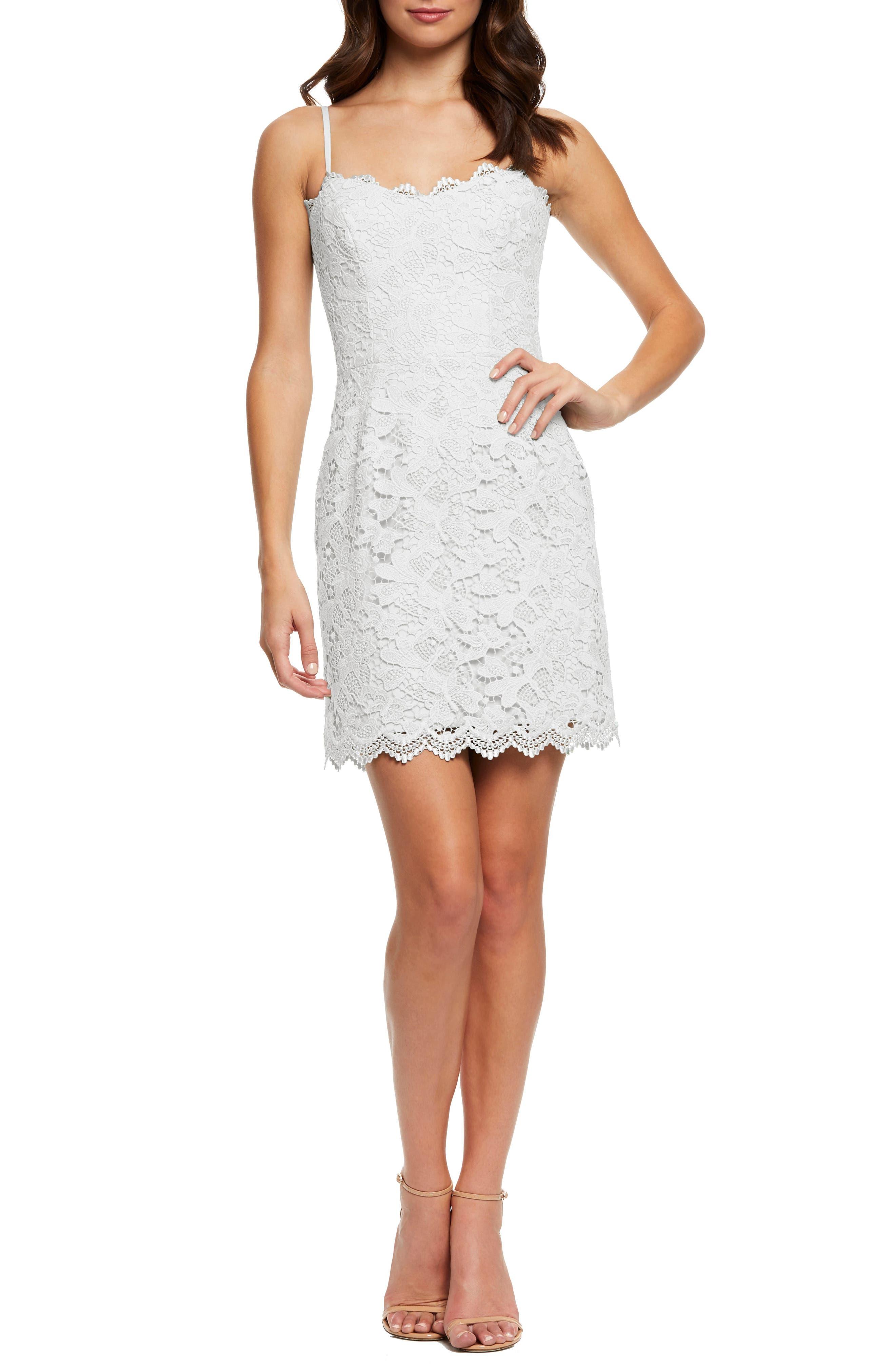 Dress The Population Gwen Demi Neckline Lace Minidress, White