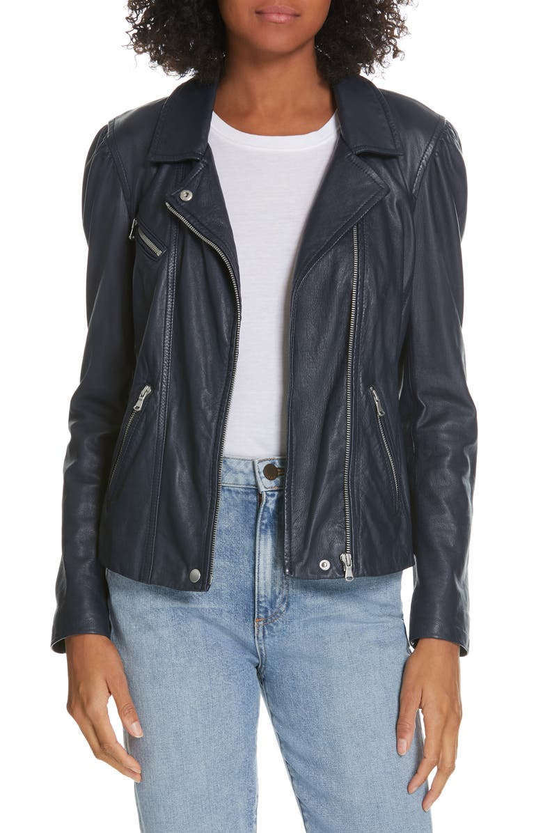 REBECCA TAYLOR Leather Biker Jacket, Main, color, 400