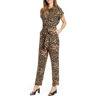 Halogen Short Sleeve Jumpsuit, Brown