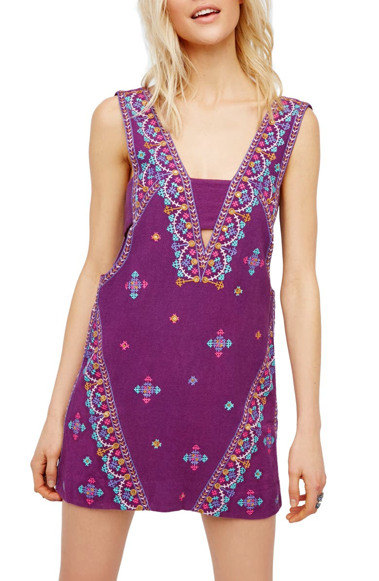 FREE PEOPLE Never Been Embroidered Cotton Dress, Main, color, 500