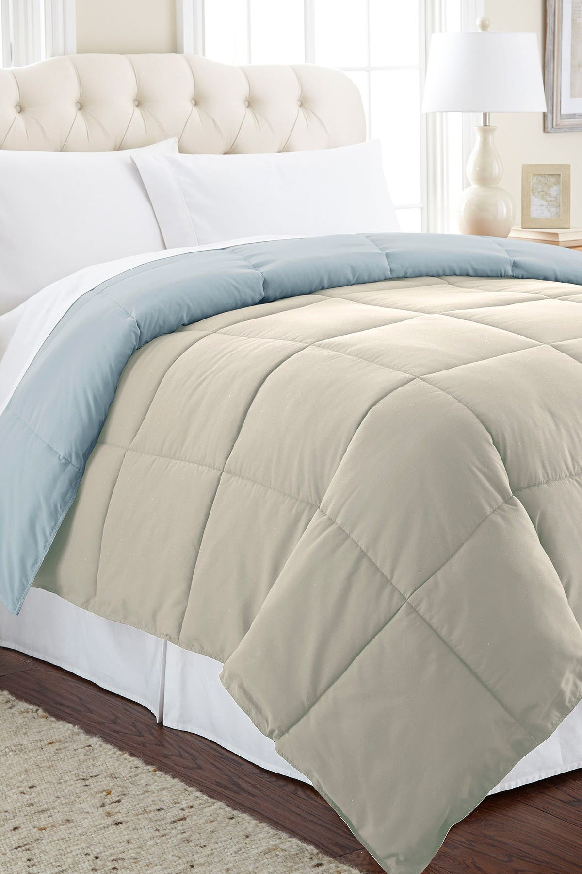 Image of Modern Threads Down Alternative Reversible Queen Comforter - Oatmeal/Dusty Blue