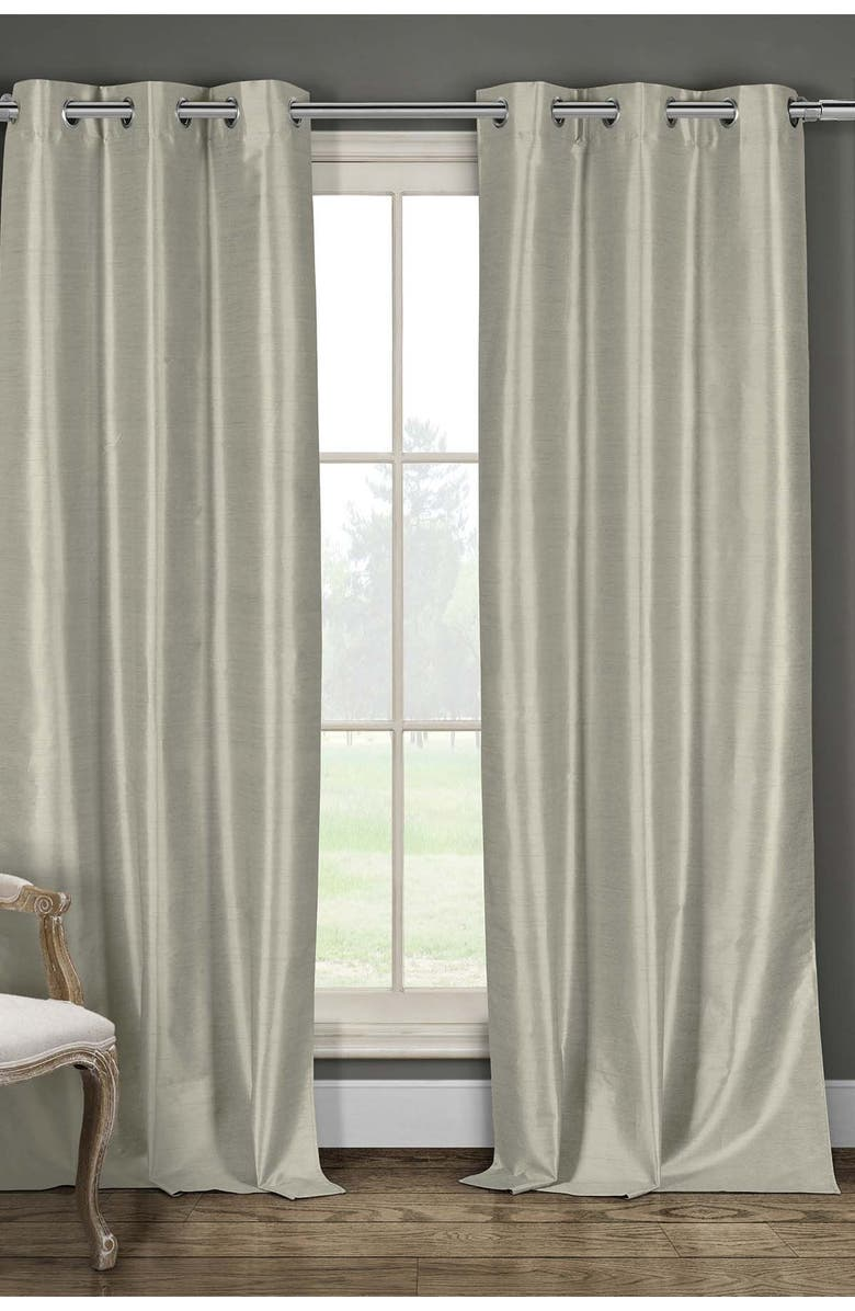 DUCK RIVER TEXTILE Daenery's Faux Silk Foamback Grommet Curtains 96L - Set of 2 - Taupe, Main, color, TAUPE