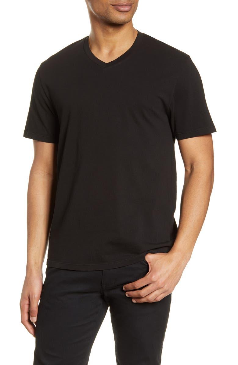 VINCE Regular Fit Garment Dyed V-Neck T-Shirt, Main, color, TRUE BLACK