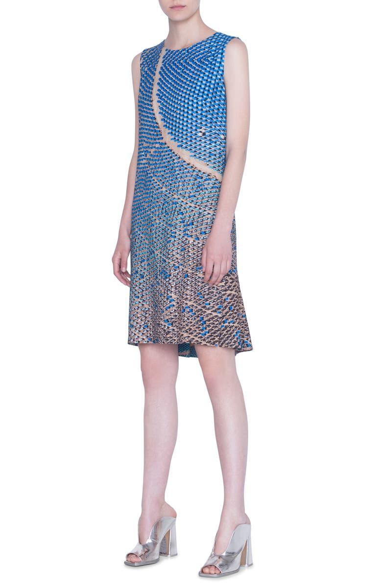 AKRIS PUNTO Solar Plants Print Sleeveless Shift Dress, Main, color, SAND/ LAKE