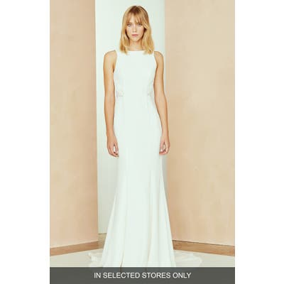 Nouvelle Amsale Solana Lace Open Back Dress, Size IN STORE ONLY - Ivory