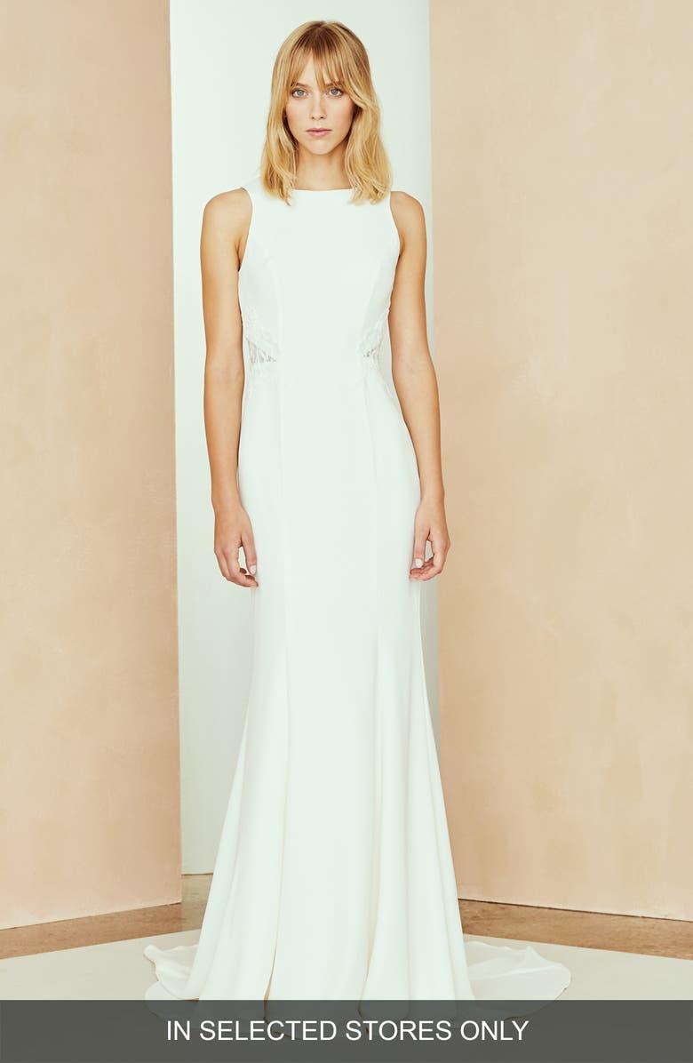 NOUVELLE AMSALE Solana Lace Open Back Dress, Main, color, IVORY