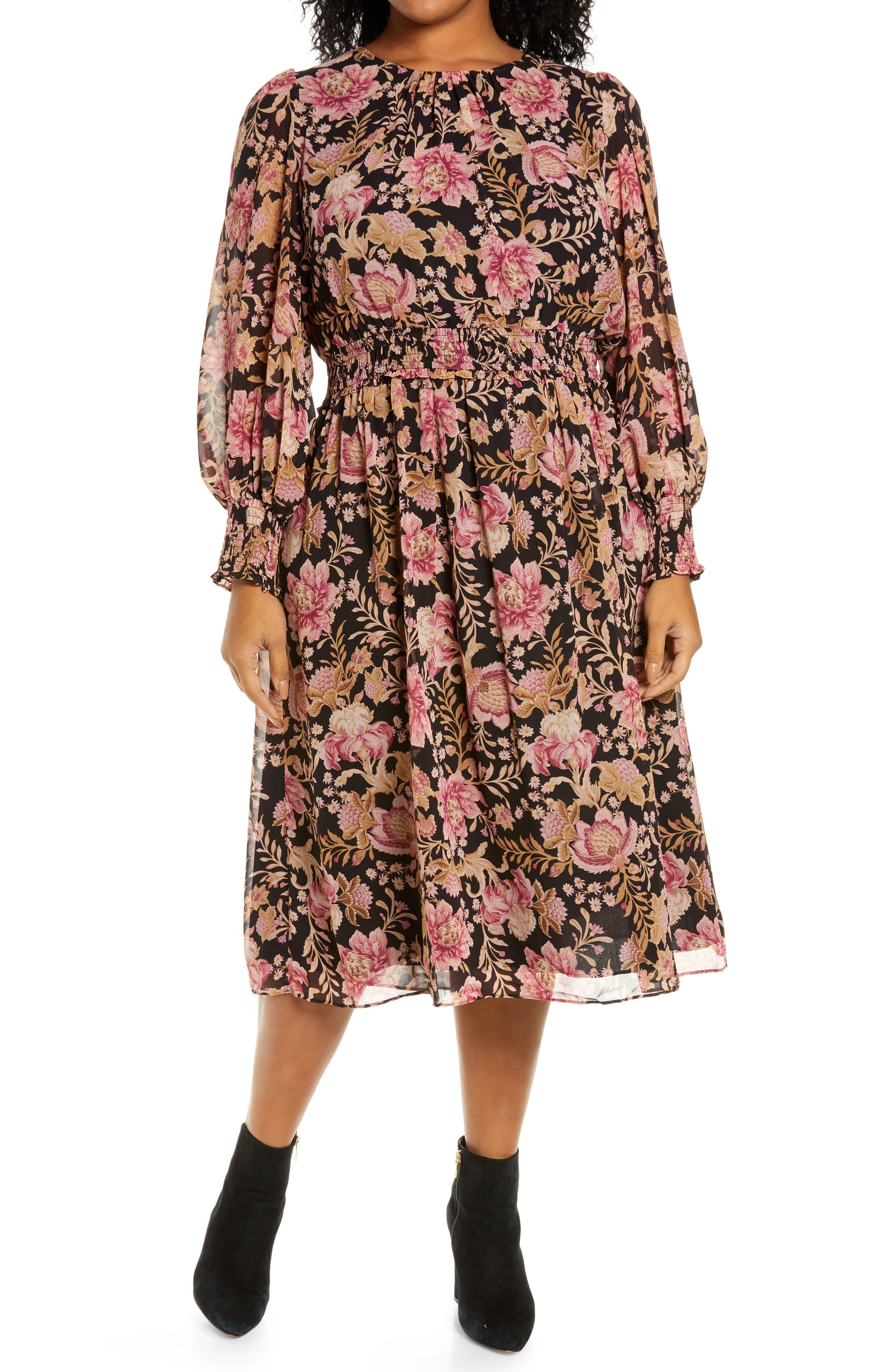 Lucia Floral Print Long Sleeve Midi Dress