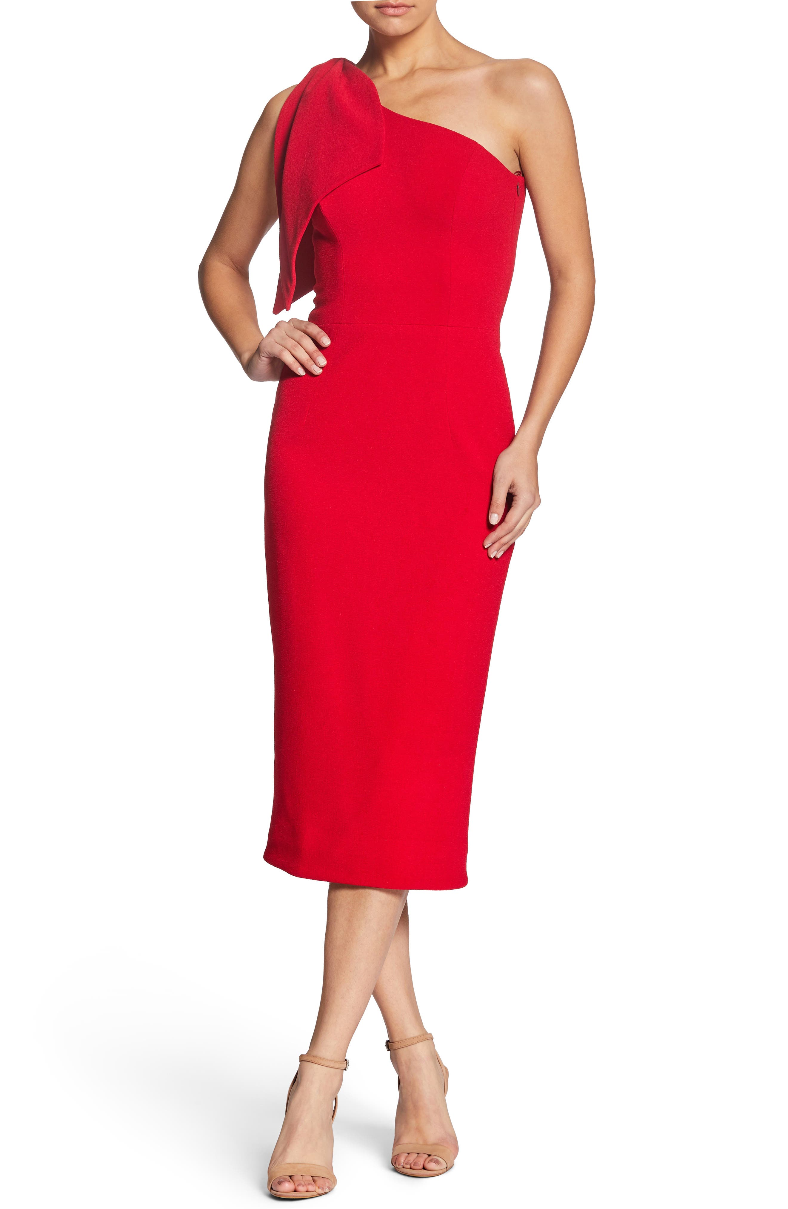 Dress the Population Tiffany One-Shoulder Midi Dress | Nordstrom