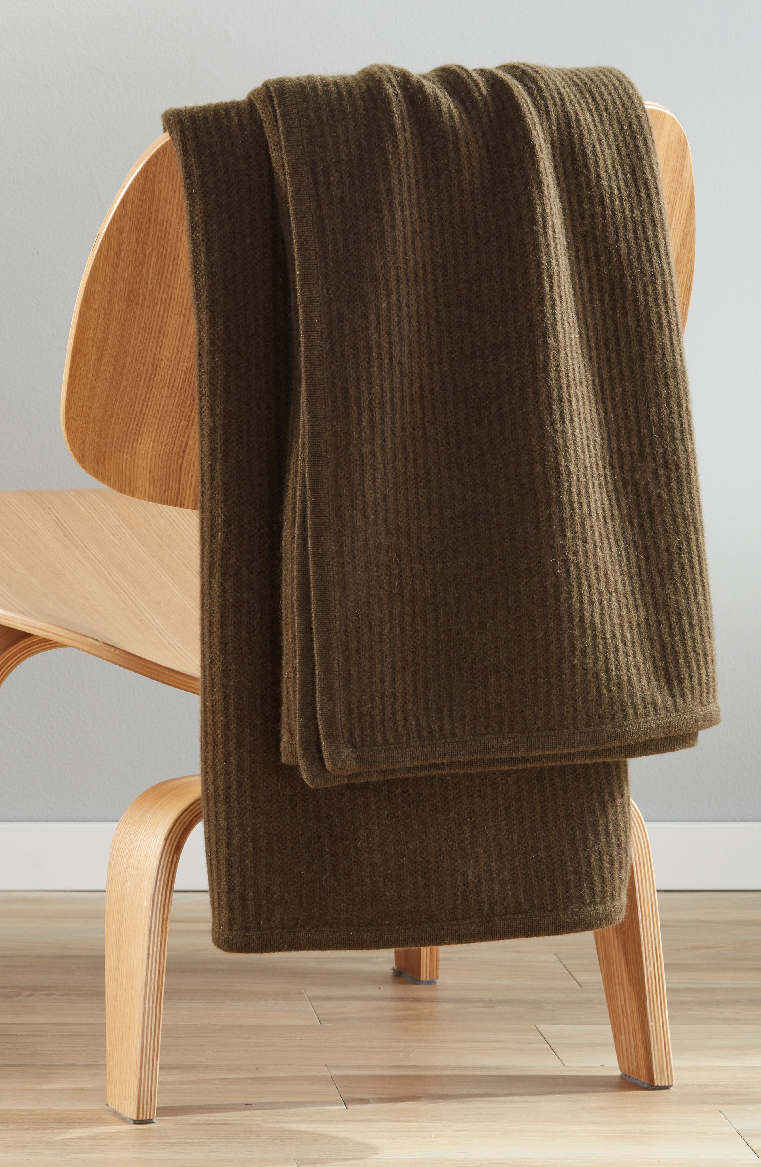 ,                             Ribbed Cashmere Throw,                             Alternate thumbnail 3, color,                             OLIVE HEATHER