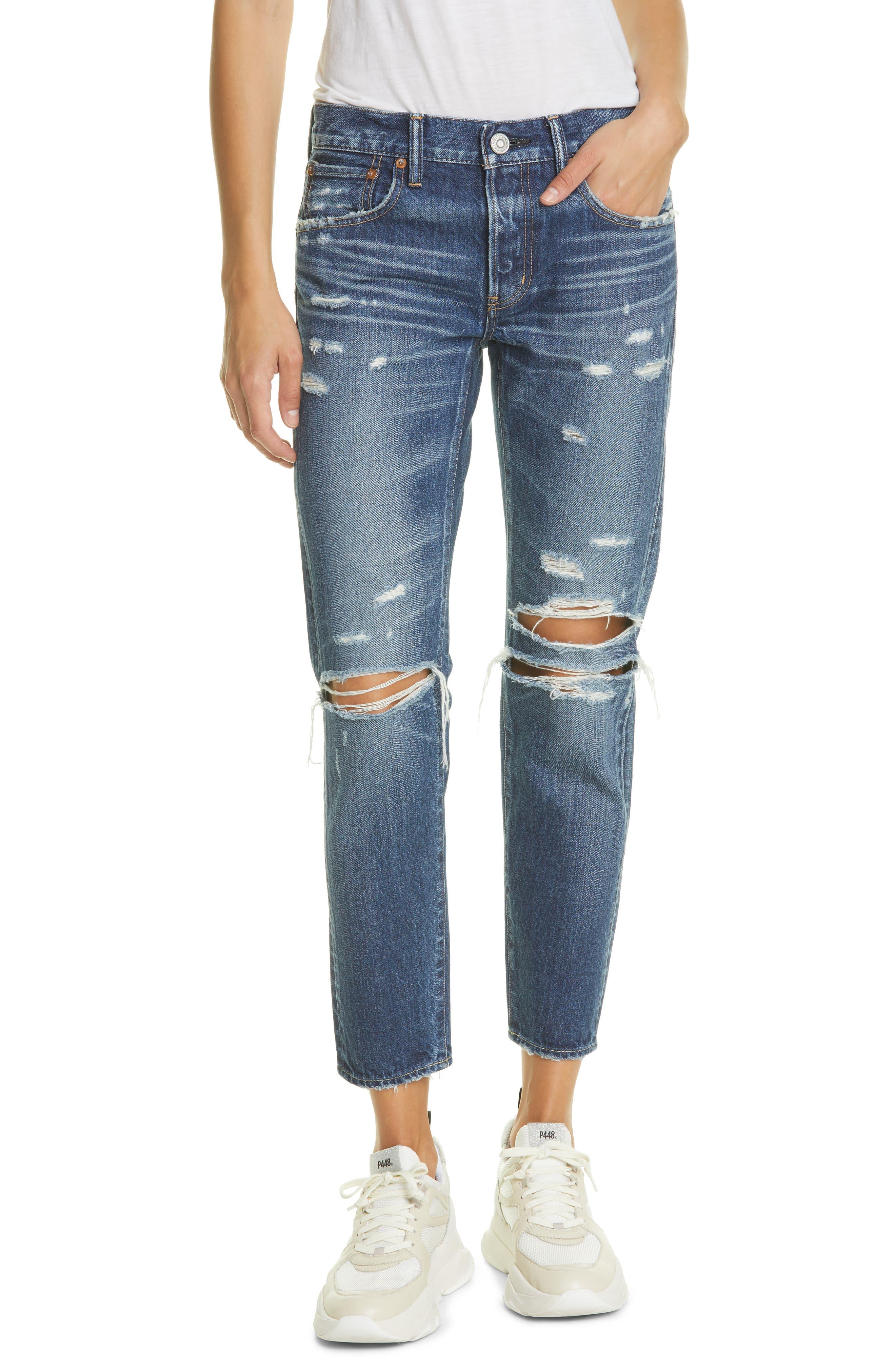 Denver Distressed Tapered Ankle Jeans
