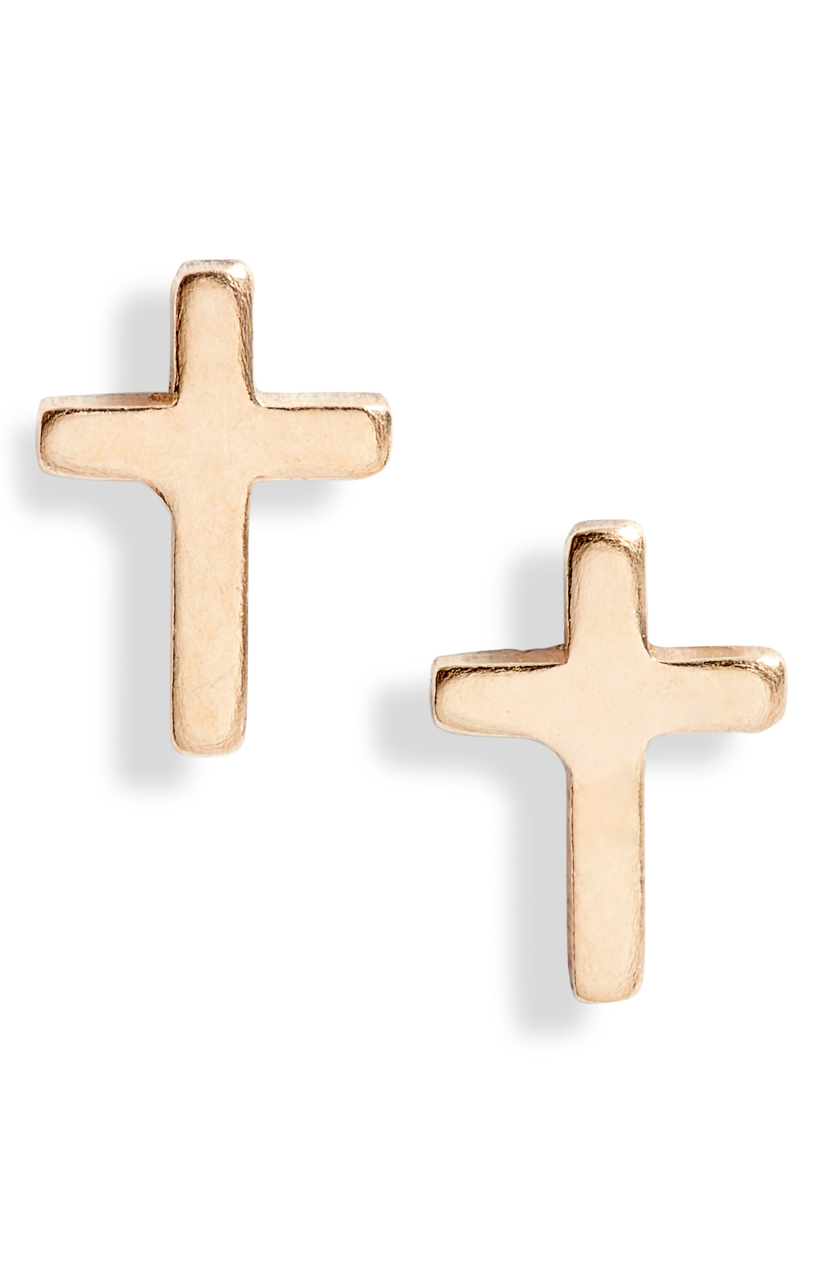 Made in San Diego, these shining cross studs are cast in a versatile size that can be worn either alone or as a second pair. Style Name: Set & Stones Ramona Cross Stud Earrings. Style Number: 6093907. Available in stores.