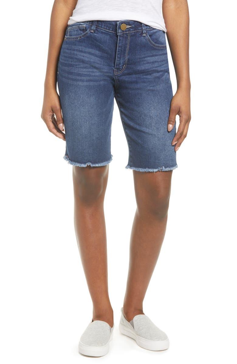 WIT & WISDOM Ab-solution High Waist Raw Hem Bermuda Shorts, Main, color, 420