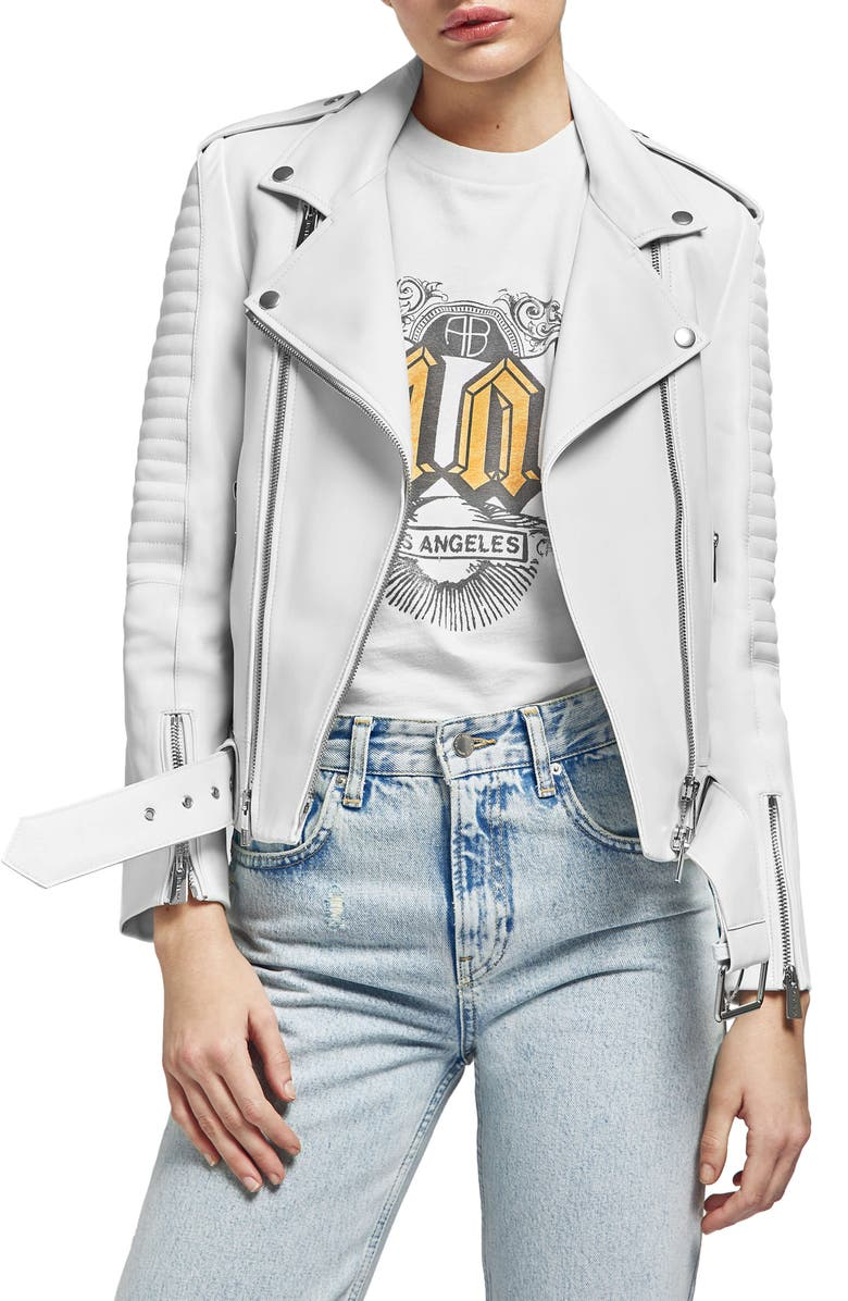 ANINE BING Cassidy Leather Moto Jacket, Main, color, 100